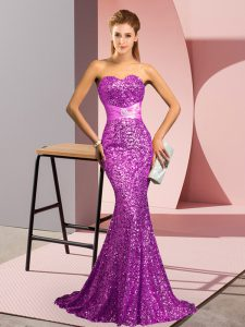 Classical Purple Sequined Zipper Prom Party Dress Sleeveless Sweep Train Beading