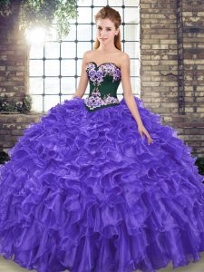 Fashionable Purple Quinceanera Dresses Sweetheart Sleeveless Sweep Train Lace Up