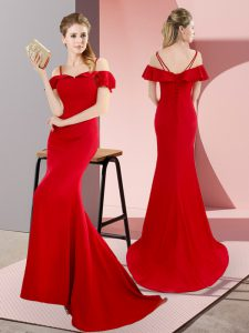 Red Sleeveless Satin Sweep Train Lace Up Prom Dress for Prom and Party and Military Ball