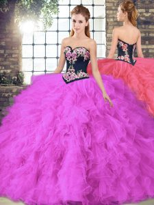 Sweetheart Sleeveless Sweet 16 Quinceanera Dress Floor Length Beading and Embroidery Fuchsia Tulle