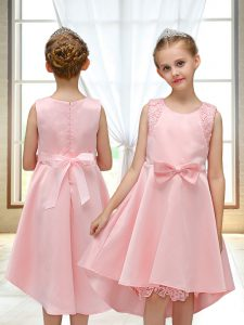 Luxurious High Low Pink Flower Girl Dresses for Less Satin Sleeveless Lace and Bowknot