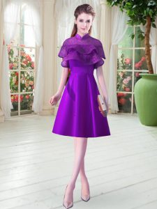 Eggplant Purple Lace Up Prom Gown Ruffled Layers Cap Sleeves Knee Length