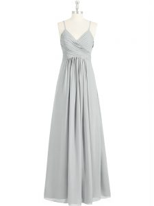 Sophisticated Grey Empire Ruching Prom Evening Gown Backless Chiffon Sleeveless Floor Length
