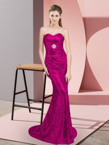 Fuchsia Sweetheart Neckline Belt Dress for Prom Sleeveless Lace Up
