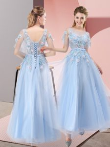 Super Scoop Short Sleeves Prom Party Dress Floor Length Appliques Light Blue Tulle
