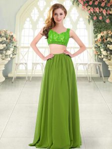 Olive Green Prom Dress Prom and Party with Beading and Lace Straps Sleeveless Zipper