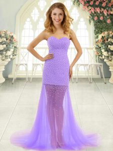 Lavender Prom Dress Sweetheart Sleeveless Brush Train Zipper