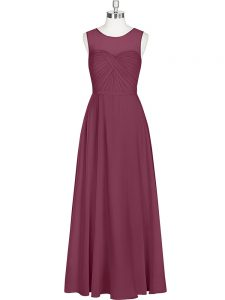 Burgundy Dress for Prom Prom and Party with Ruching Scoop Sleeveless Zipper