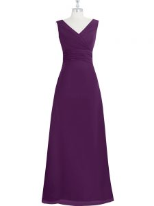 V-neck Sleeveless Prom Party Dress Floor Length Ruching Eggplant Purple Chiffon