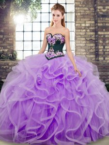 Captivating Sweetheart Sleeveless Sweep Train Lace Up Quince Ball Gowns Lavender Tulle