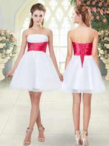 Graceful White Organza Lace Up Prom Party Dress Sleeveless Mini Length Beading