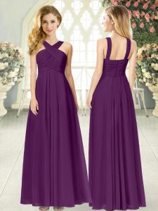 Decent Empire Dress for Prom Purple Straps Chiffon Sleeveless Floor Length Zipper