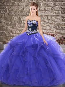 Edgy Purple Quince Ball Gowns Sweet 16 and Quinceanera with Beading and Embroidery Sweetheart Sleeveless Lace Up