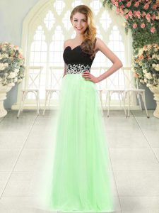 Inexpensive Light Blue Tulle Zipper Sweetheart Sleeveless Floor Length Homecoming Dress Appliques