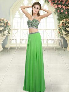 Sweetheart Sleeveless Homecoming Dress Floor Length Beading Green Chiffon