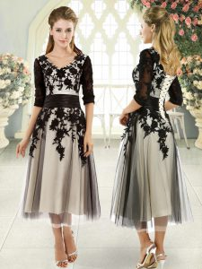 Wonderful Black Half Sleeves Tulle Lace Up for Prom and Party