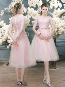 Admirable Pink Half Sleeves Lace Tea Length Prom Dress