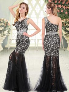 Sweet Tulle One Shoulder Sleeveless Zipper Beading and Lace Formal Evening Gowns in Black