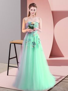 On Sale Floor Length A-line Sleeveless Apple Green Evening Dress Lace Up