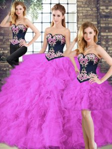 Smart Sweetheart Sleeveless Lace Up Quince Ball Gowns Fuchsia Tulle