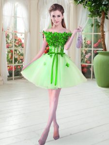 New Arrival Sleeveless Mini Length Beading and Appliques Lace Up Prom Party Dress with Apple Green