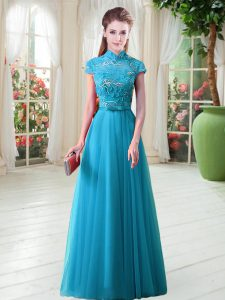 Free and Easy Aqua Blue A-line Appliques Evening Outfits Lace Up Tulle Cap Sleeves Floor Length