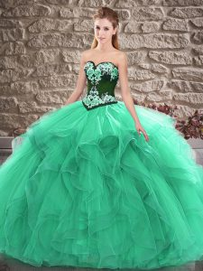 Turquoise Ball Gowns Tulle Sweetheart Sleeveless Beading and Embroidery Floor Length Lace Up Sweet 16 Dress