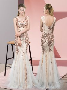 Sequins Evening Dresses Champagne Backless Sleeveless Floor Length