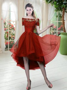 Superior Wine Red A-line Off The Shoulder Short Sleeves Tulle High Low Lace Up Lace Prom Gown