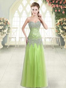 Customized Floor Length Yellow Green Evening Dress Sweetheart Sleeveless Zipper