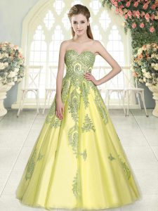 Yellow Green Sleeveless Appliques Floor Length Homecoming Dress