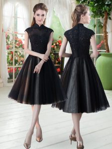 Black Cap Sleeves Tulle Zipper Evening Dress for Prom and Party