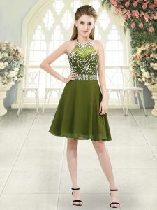 Captivating Halter Top Sleeveless Zipper Prom Dresses Olive Green Chiffon