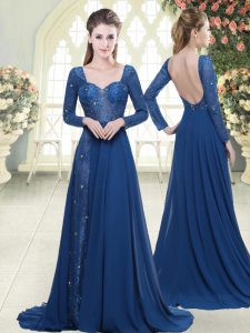 Noble Blue A-line Chiffon Sweetheart Long Sleeves Beading and Lace Zipper Prom Party Dress Sweep Train