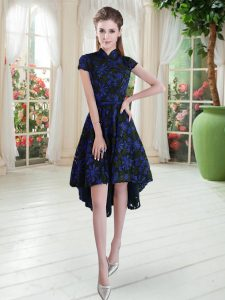 Blue And Black Zipper Dress for Prom Appliques Short Sleeves High Low
