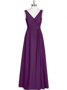 Custom Design Floor Length Eggplant Purple Prom Dresses Chiffon Sleeveless Ruching