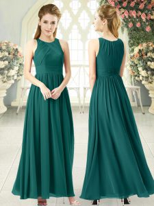 Green Prom Dresses Prom and Party with Ruching Scoop Sleeveless Zipper