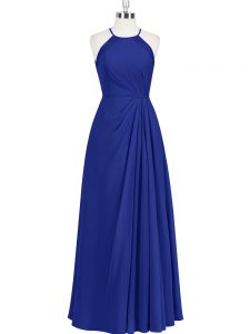 Glamorous Royal Blue Zipper Halter Top Ruching Prom Dress Chiffon Sleeveless