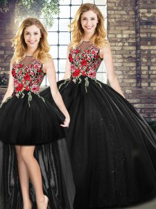 Free and Easy Black Zipper Quinceanera Gowns Embroidery Sleeveless Floor Length