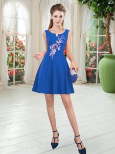 Discount Blue Sleeveless Appliques Mini Length Homecoming Dress