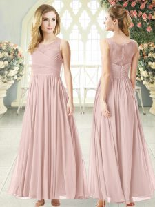 Simple Sleeveless Chiffon Ankle Length Zipper Prom Dress in Pink with Lace