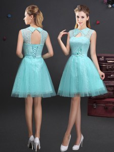 A-line Quinceanera Court Dresses Aqua Blue High-neck Tulle Sleeveless Mini Length Lace Up
