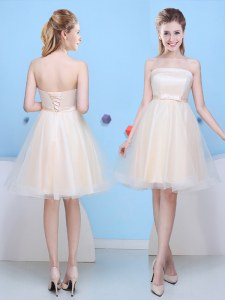 Knee Length Lace Up Wedding Guest Dresses Champagne for Prom and Party and Wedding Party with Bowknot