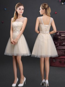 Modern Champagne A-line Scoop Sleeveless Tulle Mini Length Lace Up Beading and Lace and Appliques and Belt Bridesmaids Dress