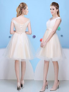 Captivating V-neck Cap Sleeves Court Dresses for Sweet 16 Knee Length Bowknot Champagne Tulle