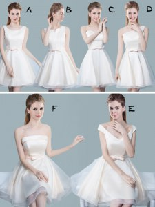 Tulle Scoop Sleeveless Lace Up Lace and Bowknot Quinceanera Court of Honor Dress in White