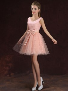 Elegant Tulle and Lace V-neck Sleeveless Lace Up Lace and Bowknot Damas Dress in Peach