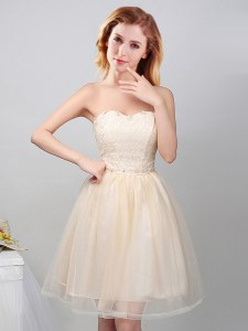 Champagne Sweetheart Lace Up Lace and Appliques Wedding Party Dress Sleeveless