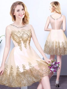 Scoop Champagne Sleeveless Tulle Zipper Quinceanera Dama Dress for Prom and Party and Wedding Party