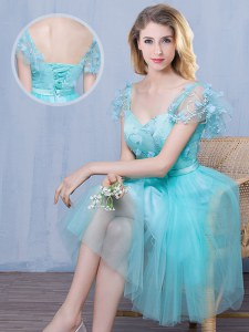 Customized Tulle Sweetheart Short Sleeves Lace Up Lace and Appliques and Bowknot Quinceanera Court of Honor Dress in Aqua Blue